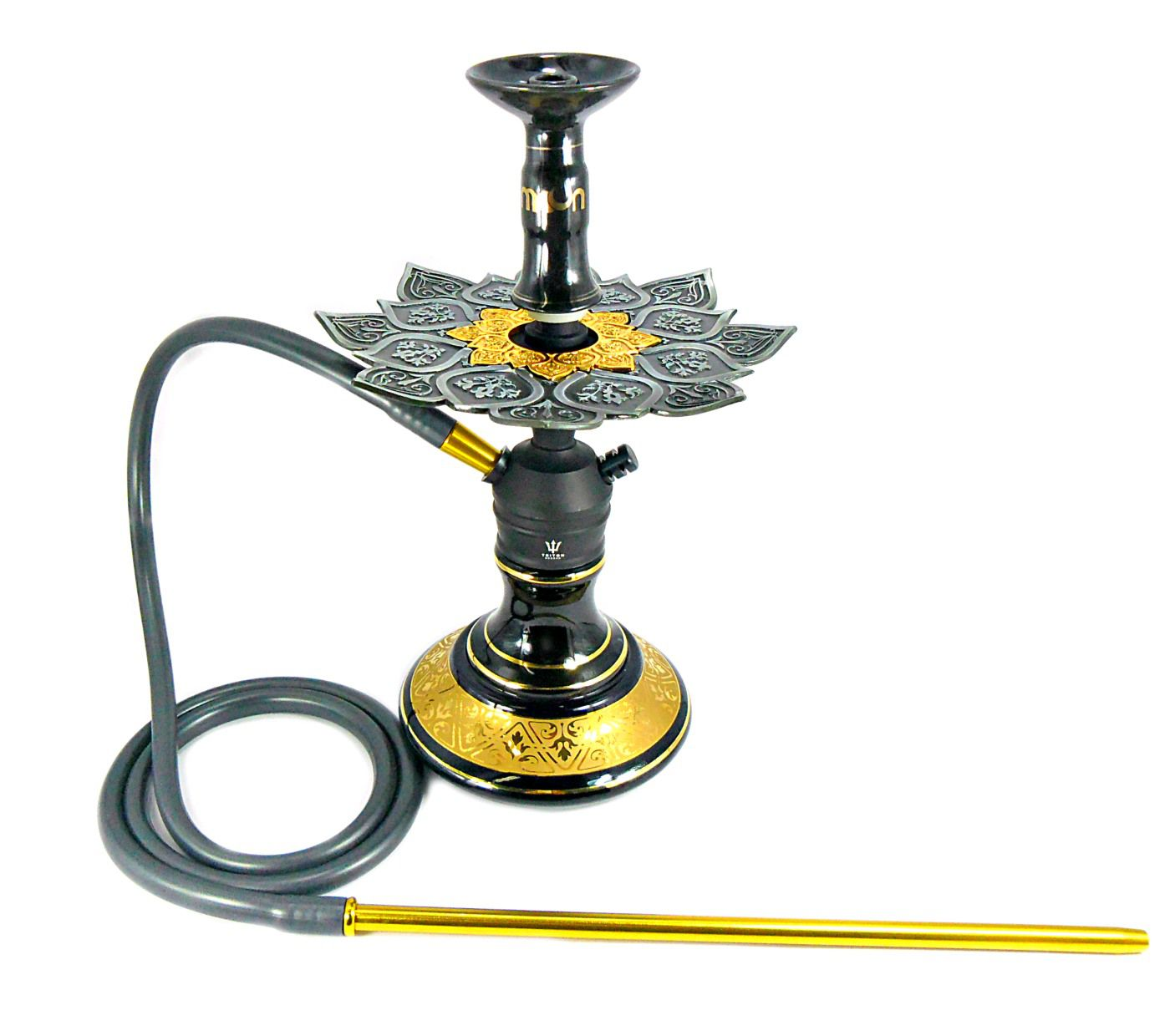 Narguile Triton Zip Preto, vaso Aladin, mang. silic., pit.alumínio,rosh listra dour., prato Athenas