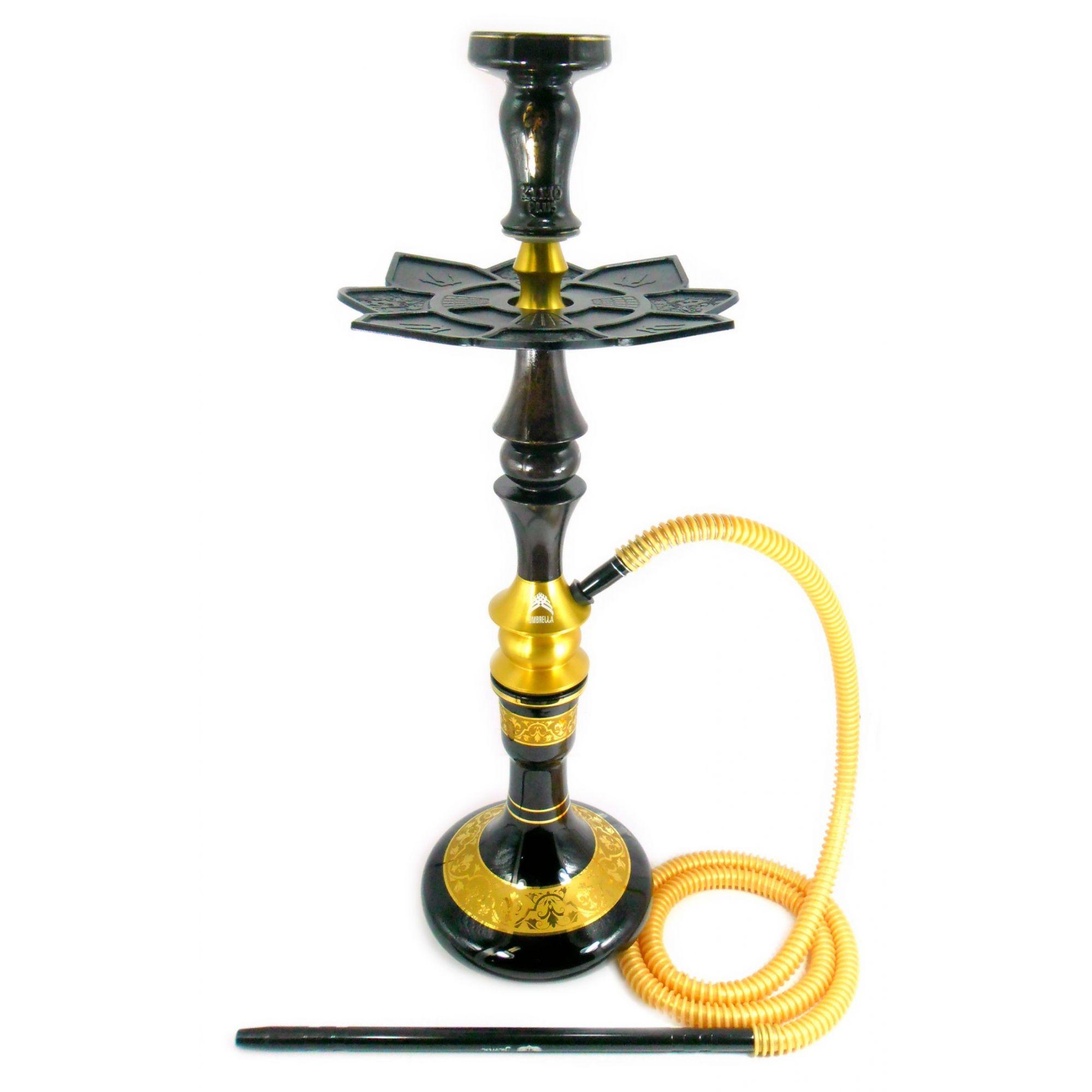 Narguile Umbrella Nano Dourado e Darkwood 67cm, vaso Aladin, mang. silicone, piteira alumínio, rosh Kimo, prato Moon Lua