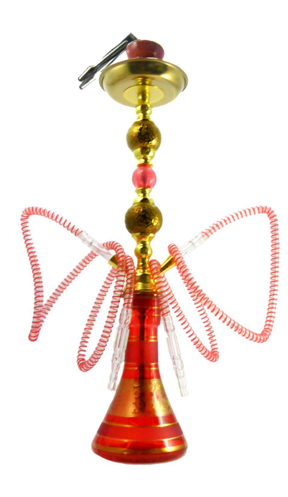 Narguile Yahya 59cm, duas mangueiras, vaso VERMELHO desenhado, corpo decorado baixo relevo Y07VM