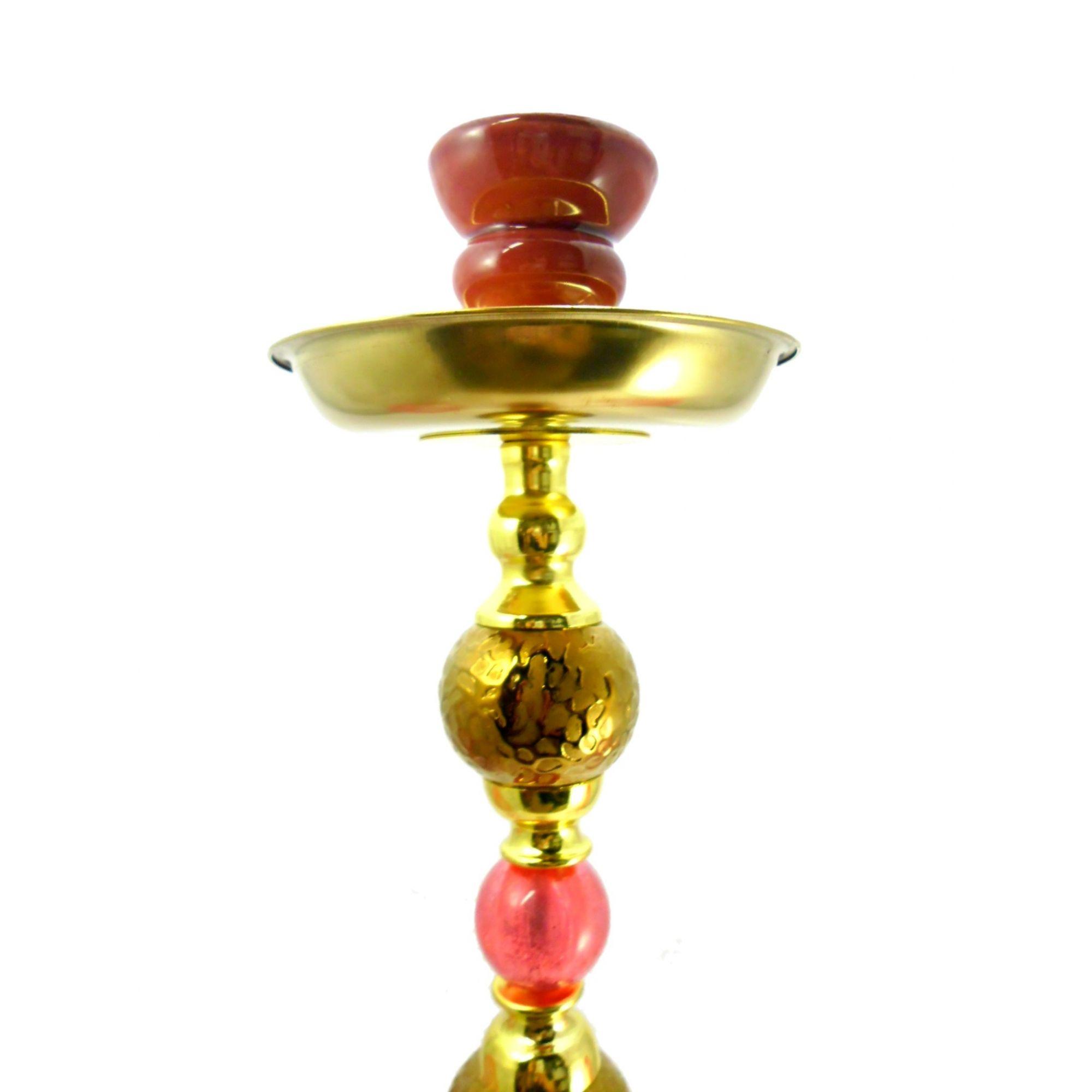 Narguile Yahya 59cm, duas mangueiras, vaso VERMELHO desenhado, corpo decorado baixo relevo Y07VM Dourado (corpo)