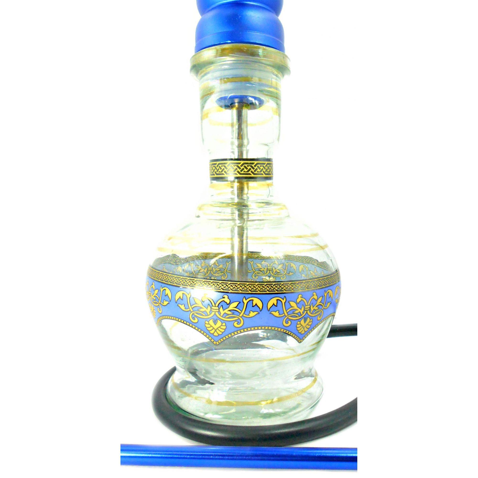 Narguile Yahya Azul alumínio 83cm. Vaso Jumbo, mangueira de silicone, rosh e piteira de alumínio