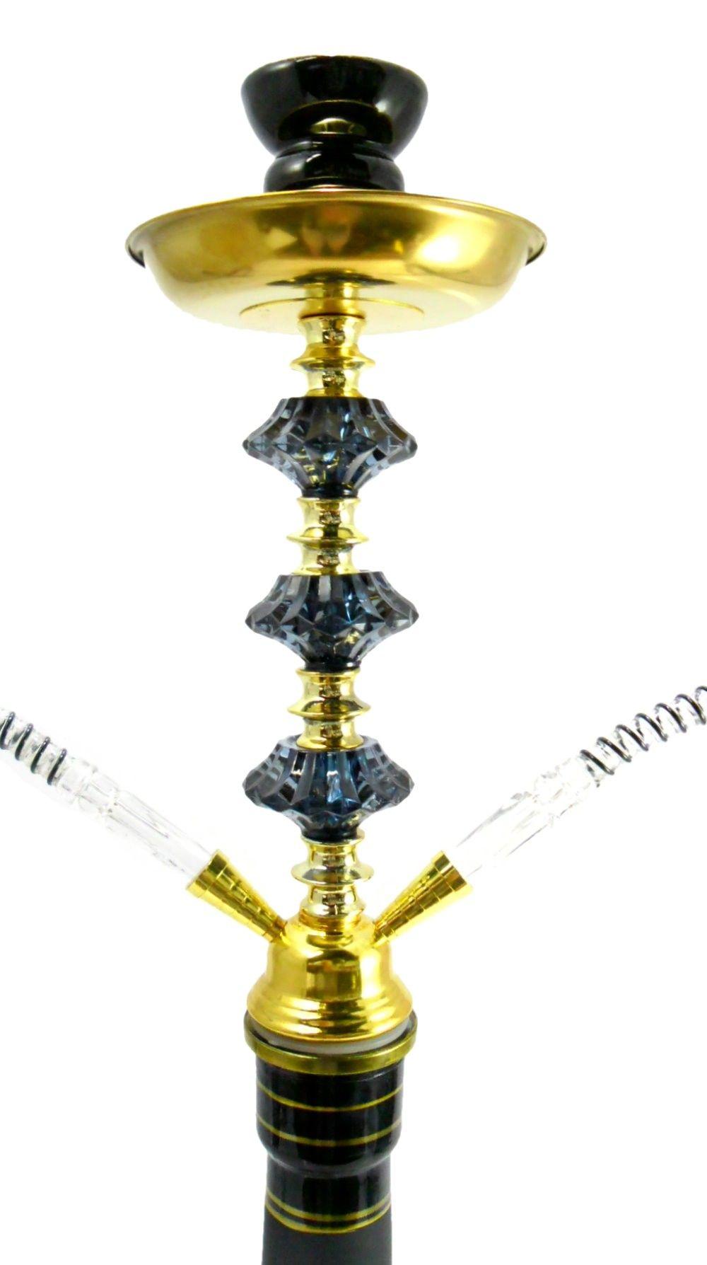 Narguile Yahya Oriental 53cm, duas mangueiras, vaso PRETO desenhos exclusivos, corpo decorado Y08PRT