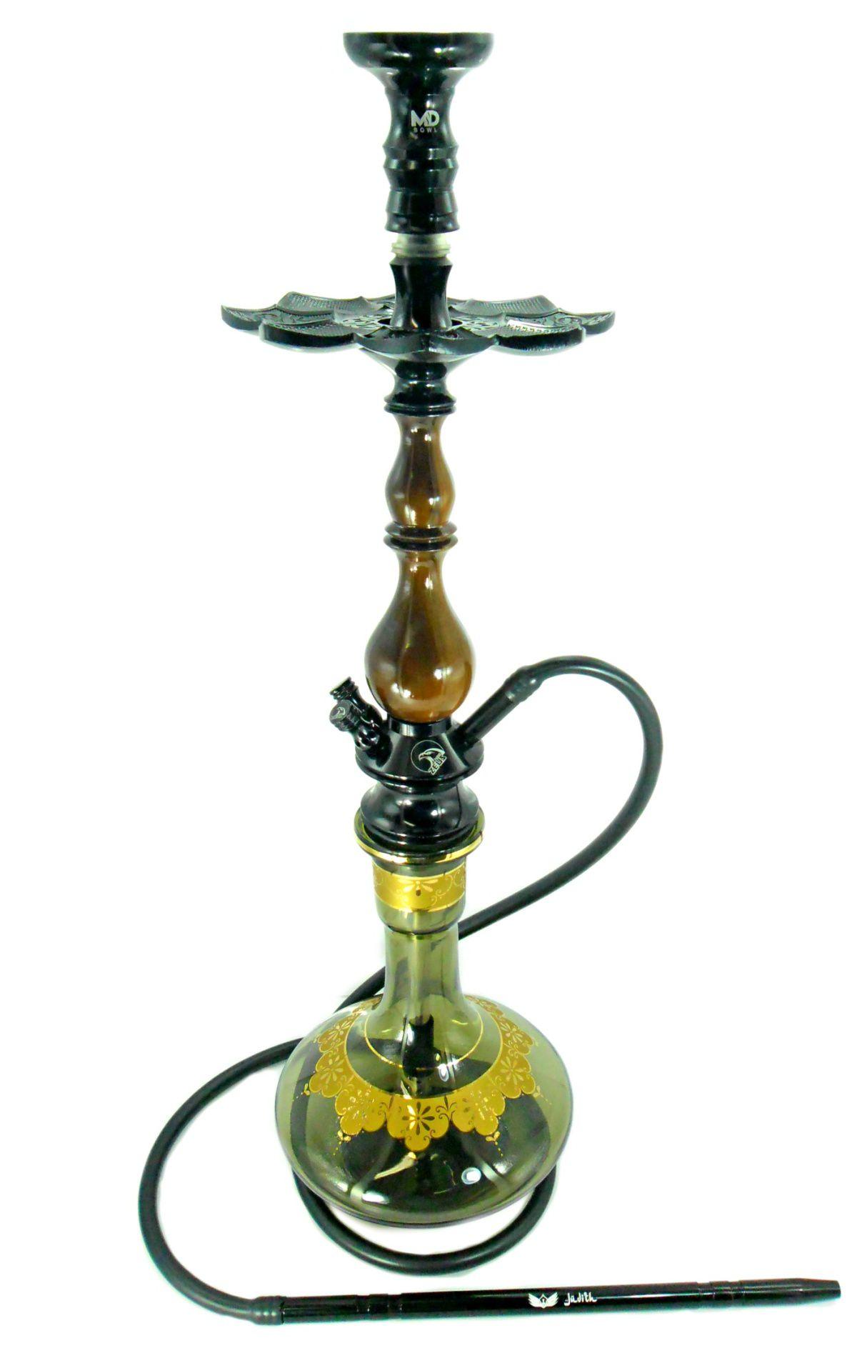 Narguile Zeus New preto 76cm, vaso Aladin, mangueira silic., piteira e rosh alumínio, prato ElNefes