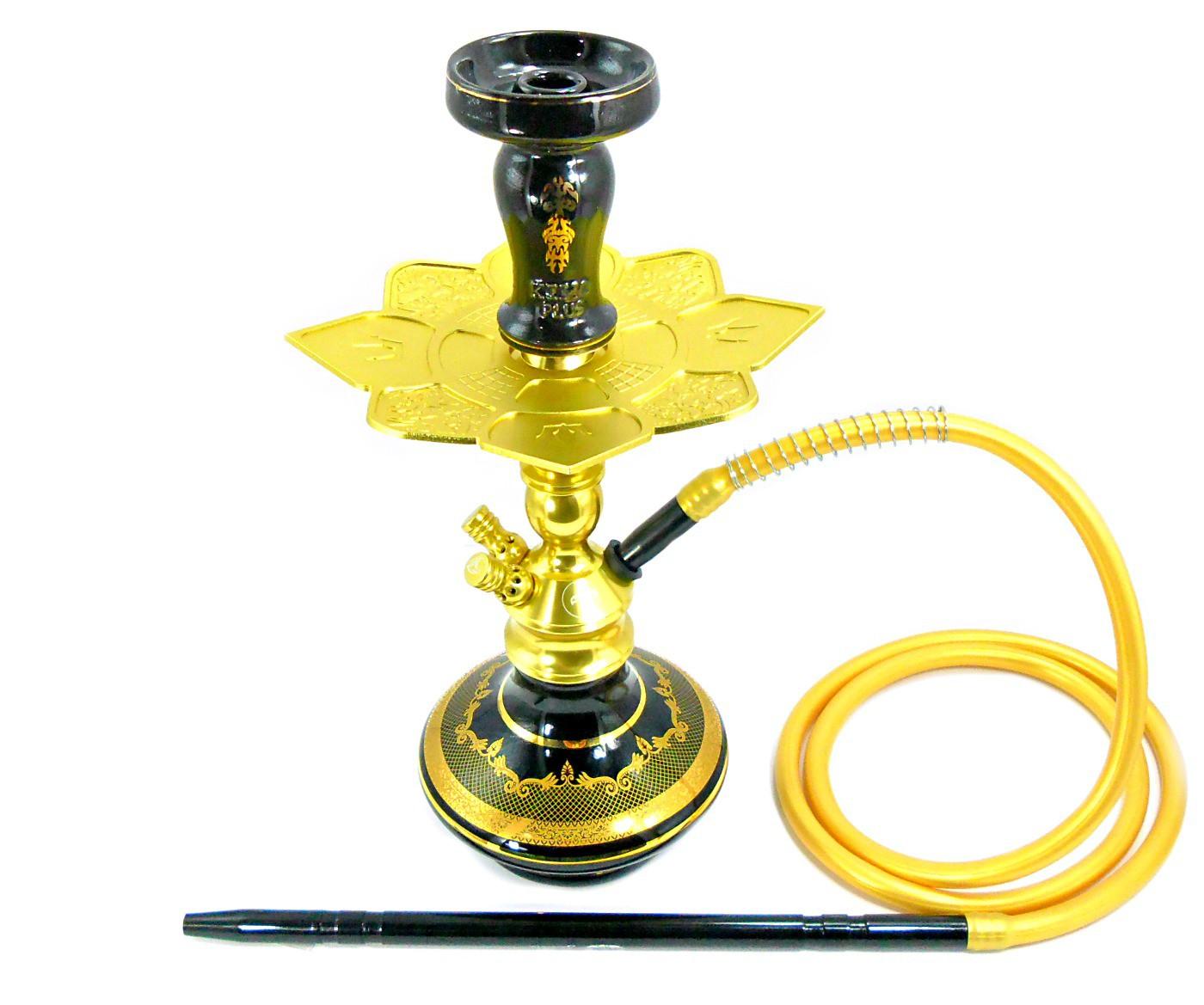 Narguile Zeus Single Dourado 42cm, vaso Aladin, mang.silicone, piteira alumínio, rosh Kimo preto/dourado, prato Imperial