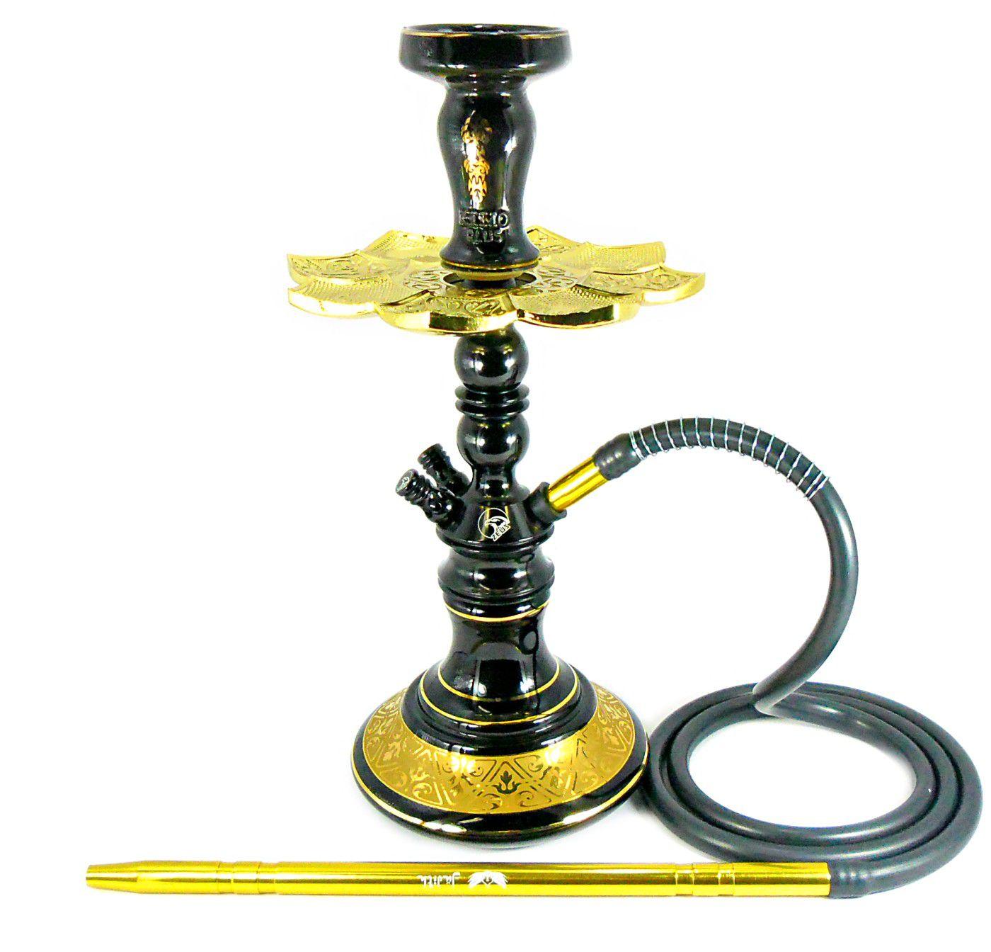 Narguile Zeus Single preto 39cm, vaso Aladin, mang. silicone, piteira e rosh Kimo preto/dourado, prato ElNefes