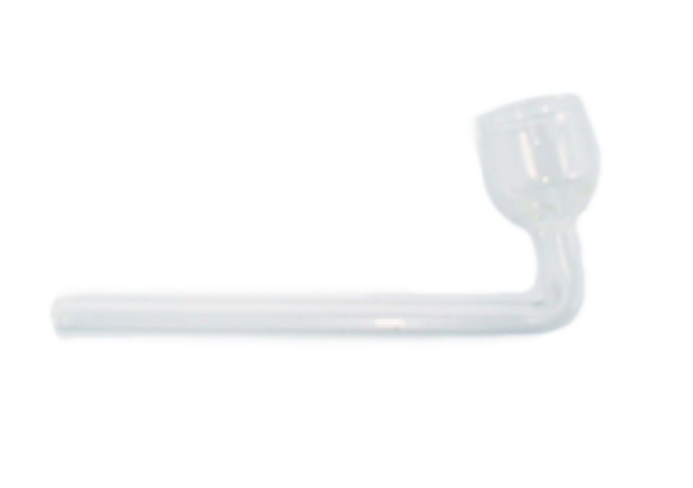 """Pipe em vidro marca Fulgore em forma de  """"L"""". 10cm de comprimento, 19mm diâmetro do cachimbo."""