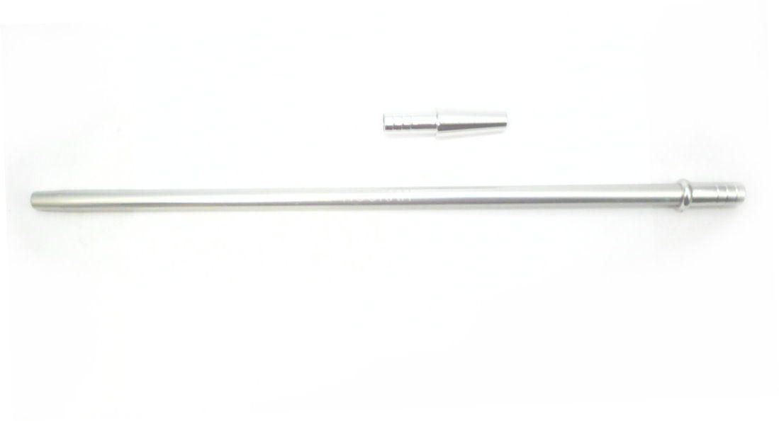 Piteira MD HOOKAH p/mangueira de narguile (+contrapiteira). Em alumínio, 40cm, fina (slim). Cromada