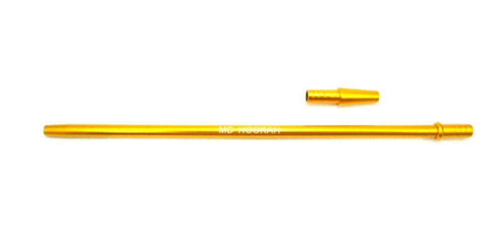 Piteira MD HOOKAH p/mangueira de narguile (+contrapiteira). Em alumínio, 40cm, fina (slim). Dourada