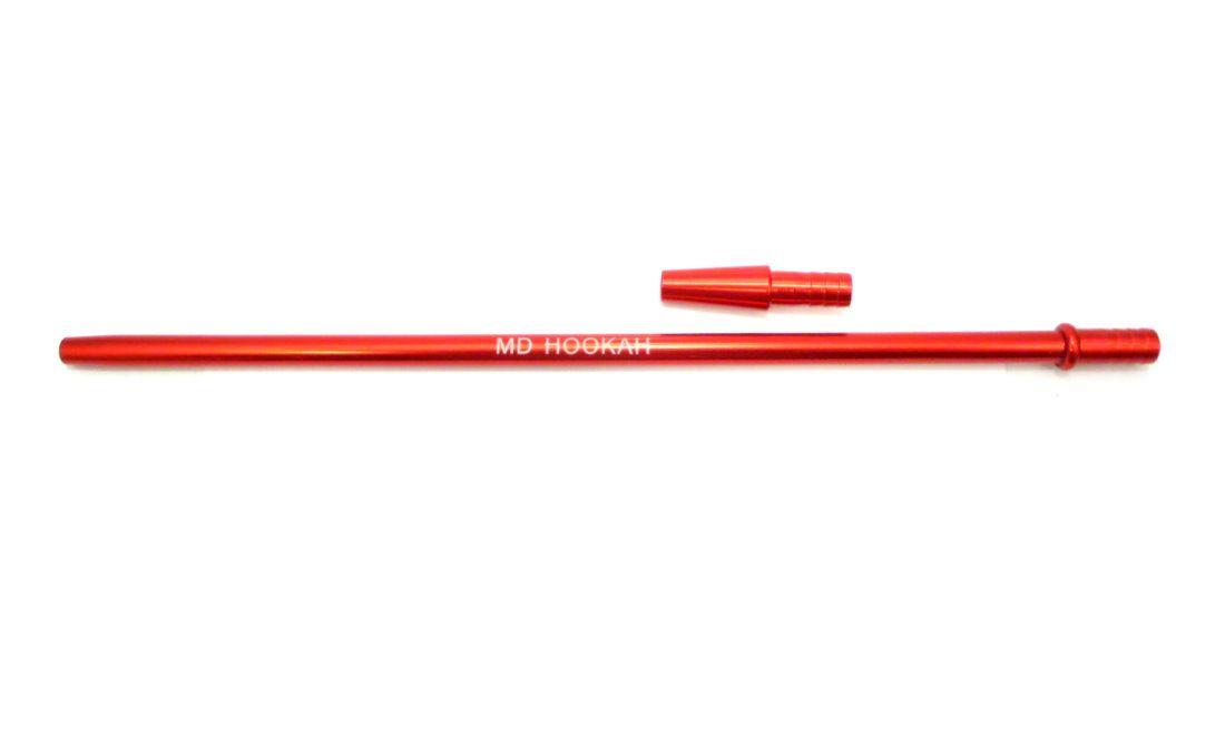 Piteira MD HOOKAH p/mangueira de narguile (+contrapiteira). Em alumínio, 40cm, fina (slim). Vermelha