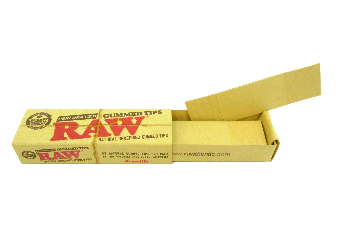 Piteira para cigarro/seda em papel RAW (marrom) - Bloco com 33 piteiras descartáveis com goma.