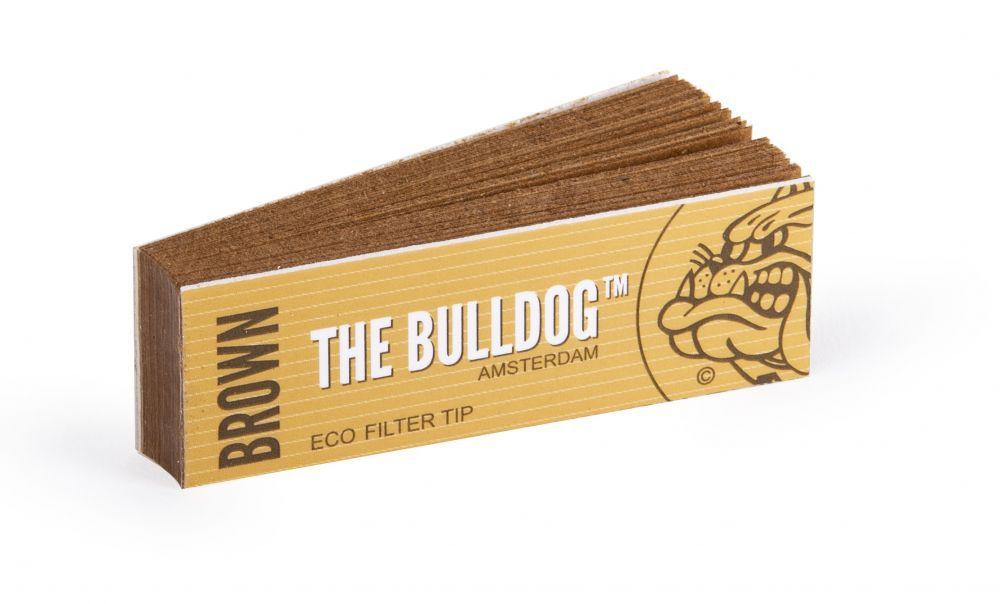 Piteira para cigarro/seda em papel THE BULLDOG AMSTERDAM (Brown/Eco Filter Tip) - Bloco 33 piteiras descartáveis c/goma.