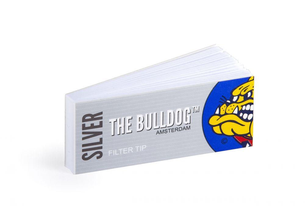 Piteira para cigarro/seda em papel THE BULLDOG AMSTERDAM (Silver / LARGA 25mm) - Bloco 33 piteiras descartáveis c/goma.