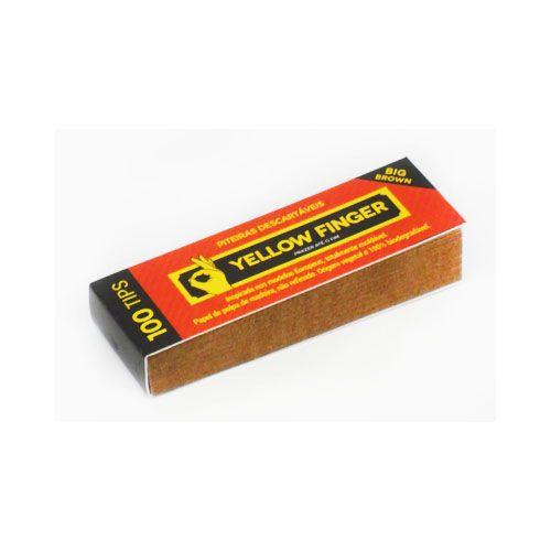 Piteira para cigarro/seda em papel YELLOW FINGER (marrom) - Bloco 100 piteiras descartáveis c/goma.