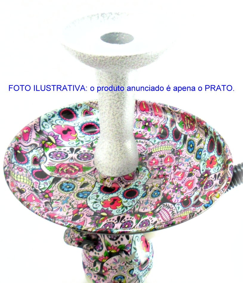 Prato para narguile marca Judith em alumínio, 17cm diâmetro. Estampa CAVEIRA MEXICANA (LA CATRINA).