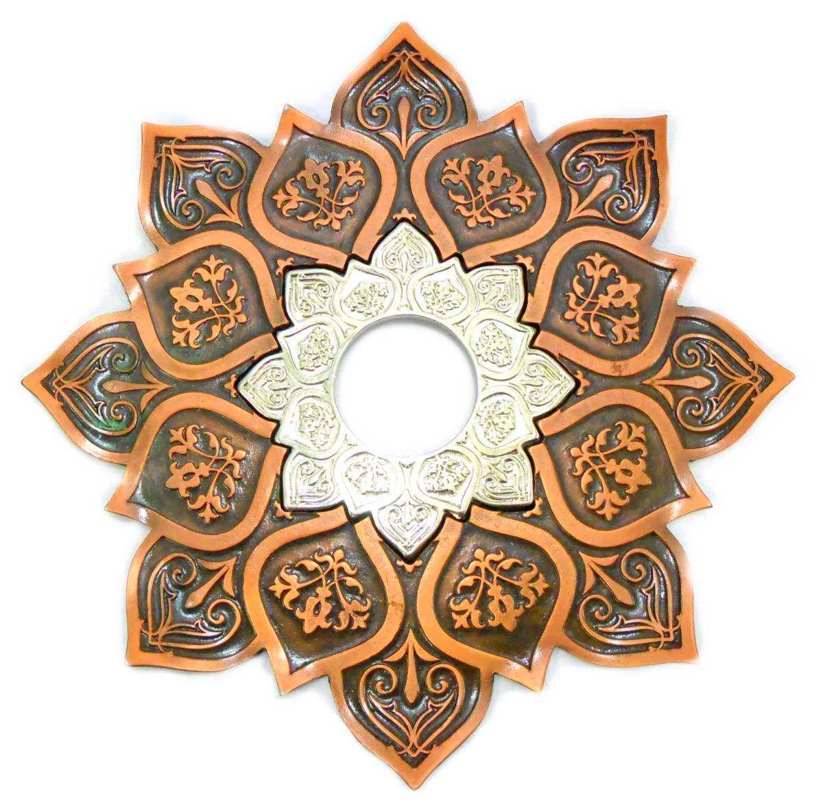Prato para narguile mod. Athenas 23cm em liga metálica inox e decorado. Cor COBRE centro CROMADO.