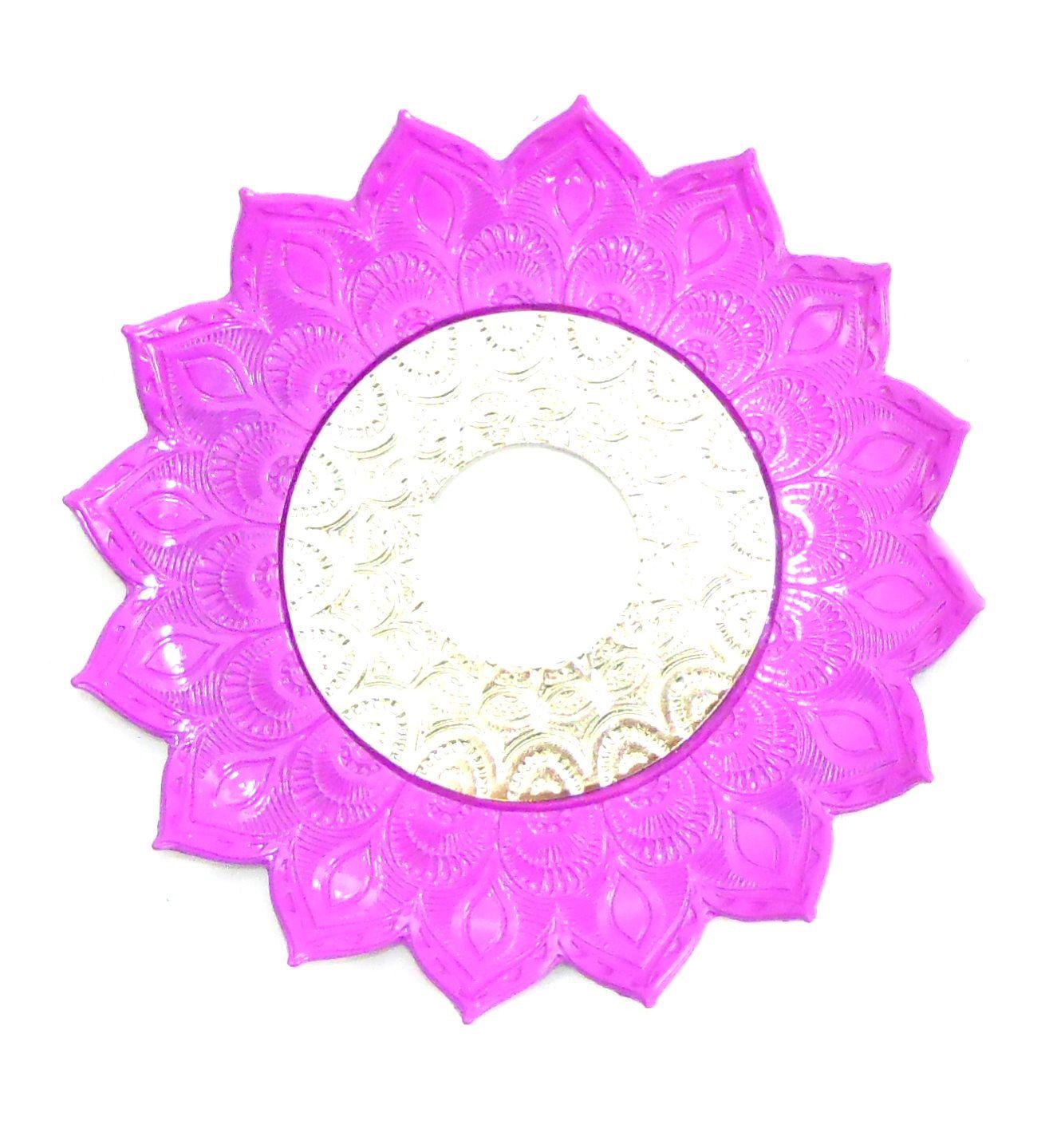 Prato para narguile mod. Artemis 17cm diâm. Em liga metálica inox e decorado. Cor: ROSA ESCURO.