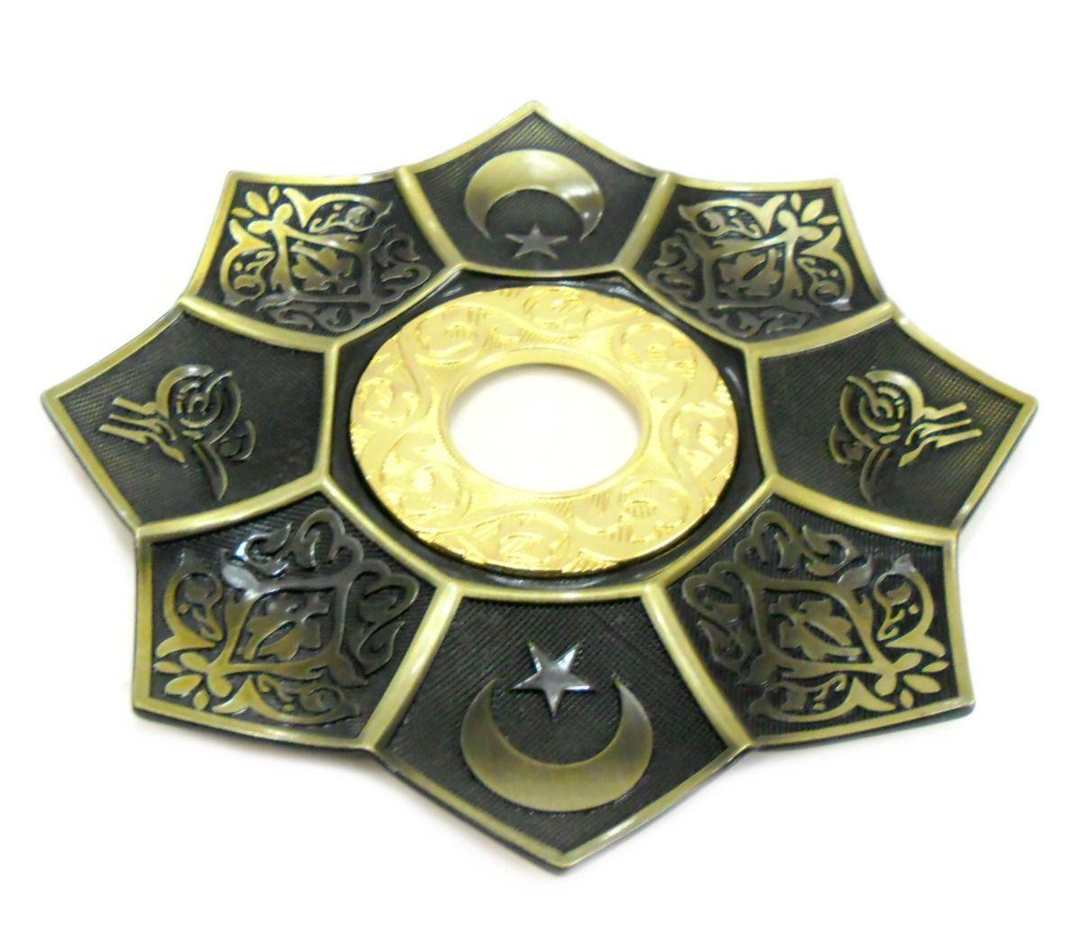 Prato para narguile mod.EBS 21 cm., decorado lótus egípcio, inox. Cor Ouro velho, centro dourado