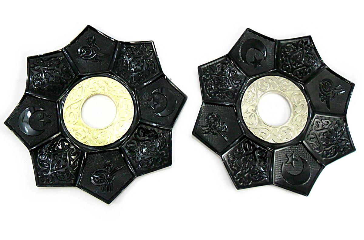 Prato para narguile mod.EBS 21 cm., decorado lótus egípcio, inox. Cor Preto.