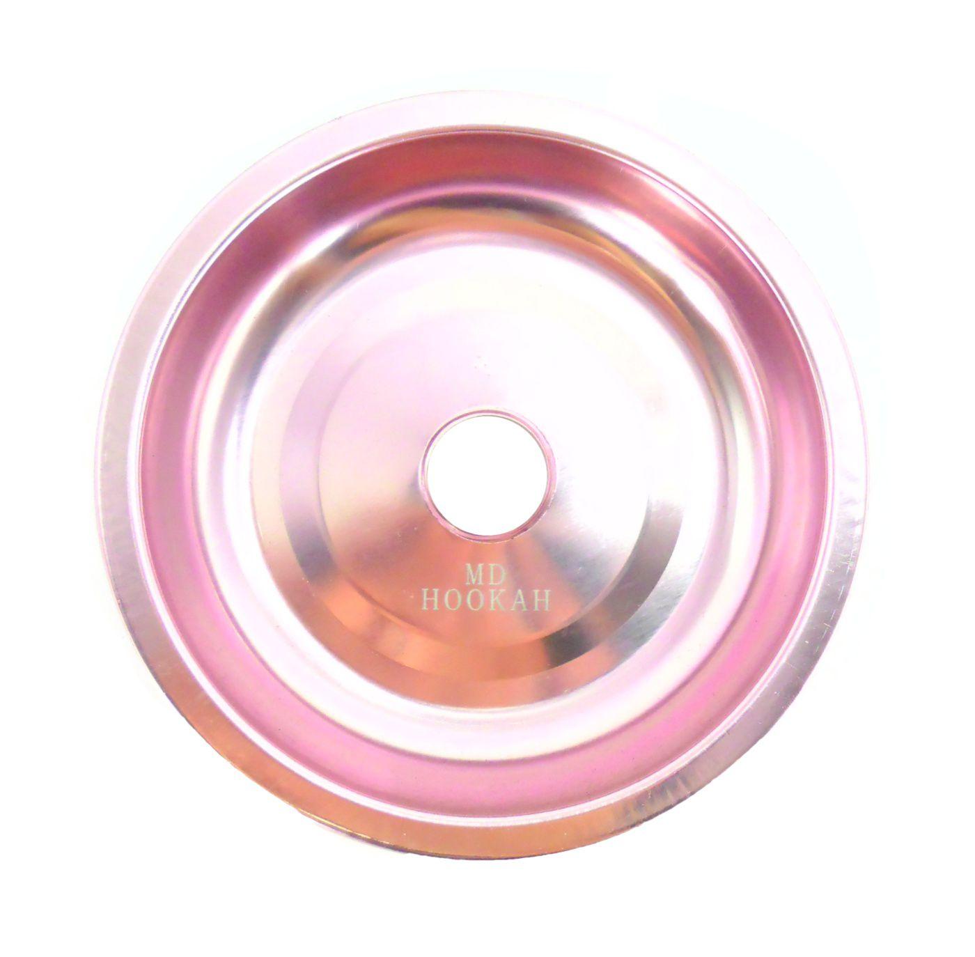 Prato para narguile em alumínio marca MD, tamanho médio (13,3cm de diâmetro, furo 2,2cm).