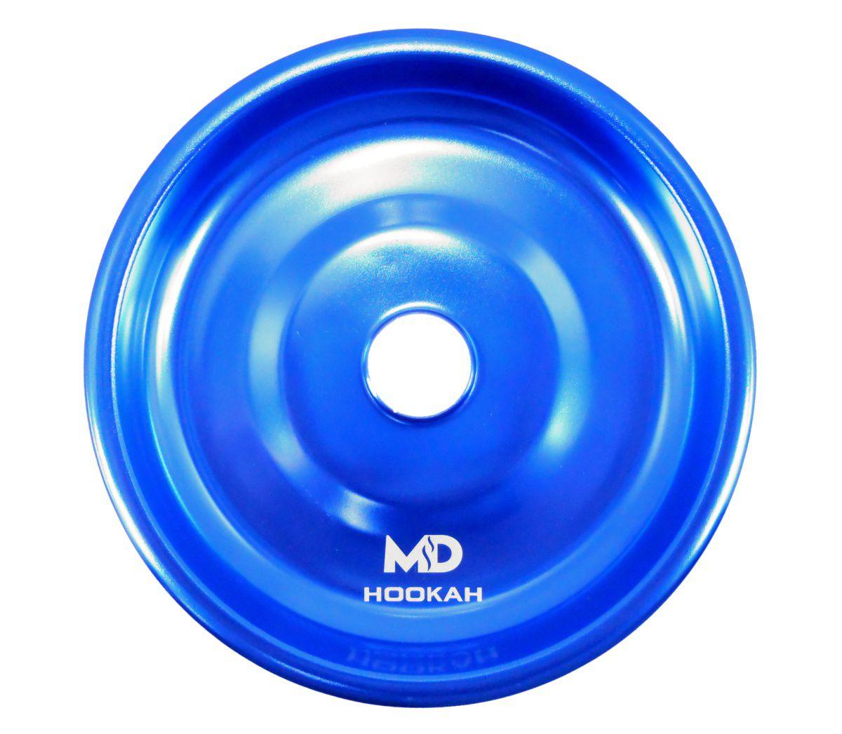 Prato para narguile em alumínio marca MD, tamanho médio (13,3cm de diâmetro, furo 2,2cm). Azul