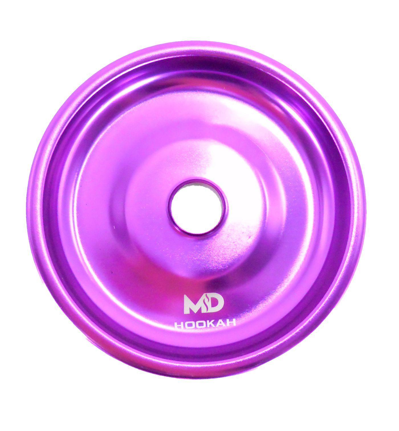 Prato para narguile em alumínio marca MD, tamanho médio (13,3cm de diâmetro, furo 2,2cm). Lilás/Roxo