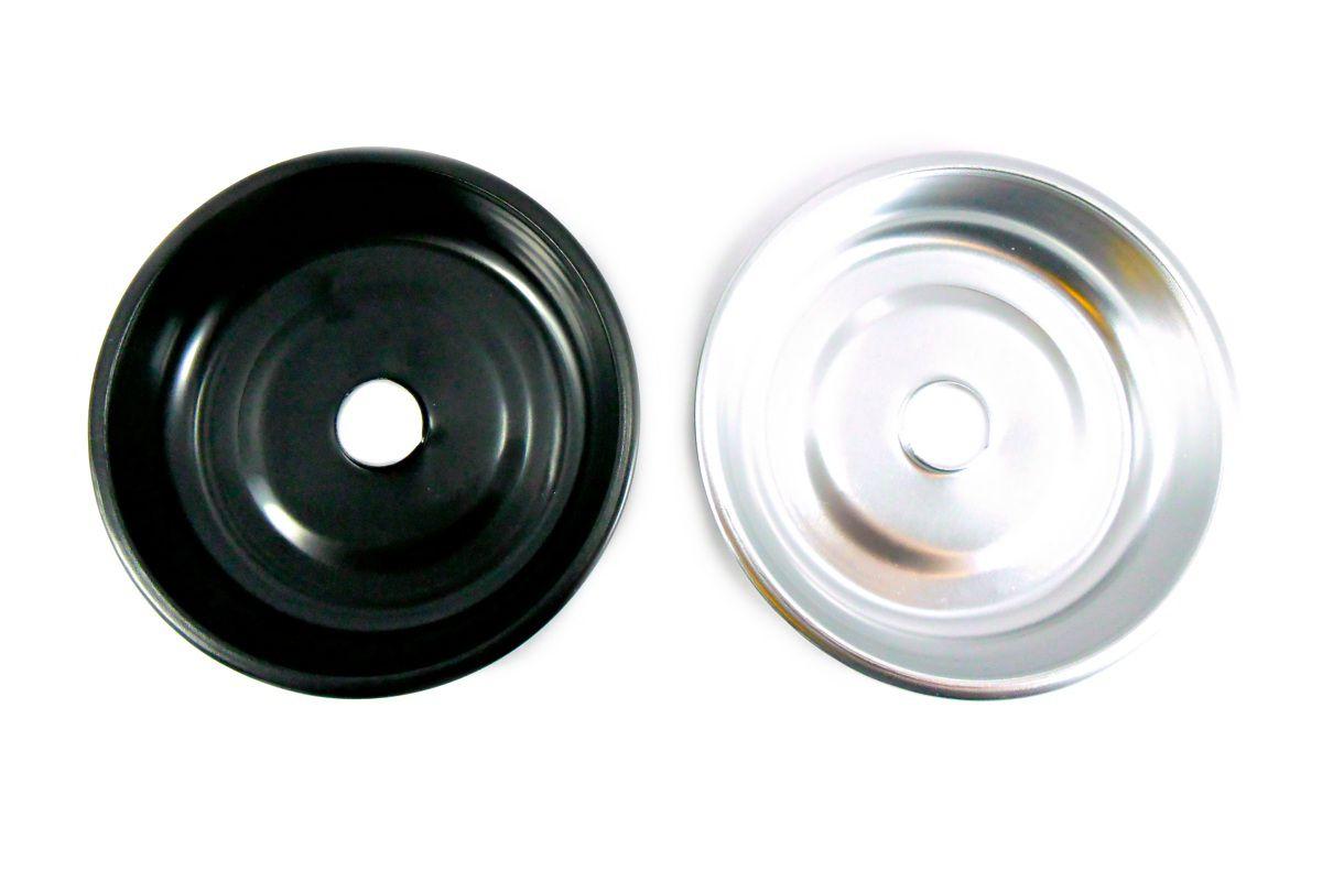 Prato para narguile em alumínio NEW, tamanho médio (13,0cm de diâmetro, furo 2,2cm).
