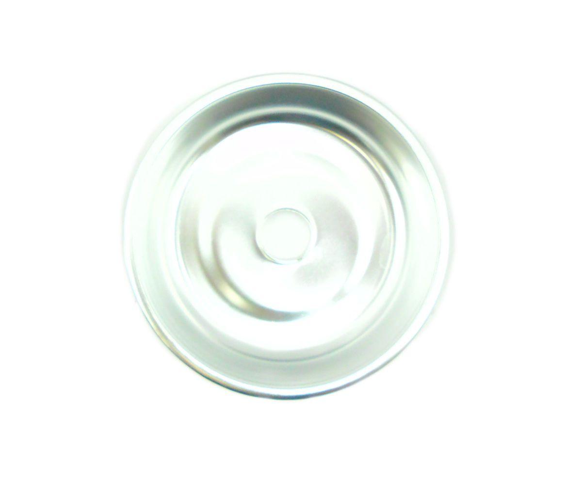 Prato para narguile em alumínio NEW, tamanho médio (13,0cm de diâmetro, furo 2,2cm). Cromado