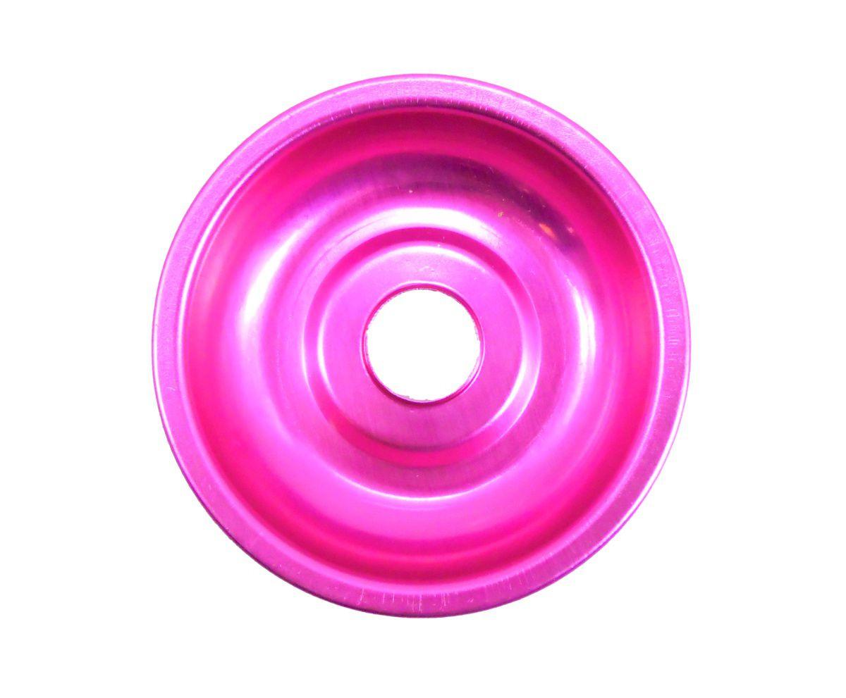Prato para narguile em alumínio NEW, tamanho pequeno (10,0cm de diâmetro, furo 2,2cm). Rosa