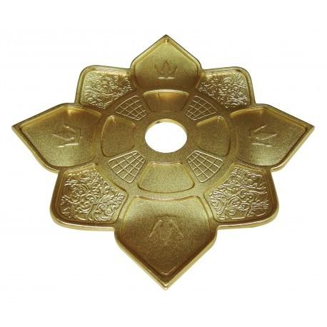 Prato para narguile Hookah King Imperial DOURADO. 28cm de diâmetro total, 4cm de furo.