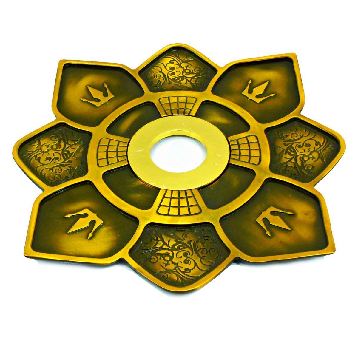 Prato para narguile IMPERIA c/pintura epóxi e centro dourado. 27cm de diâmetro, 4cm de furo.