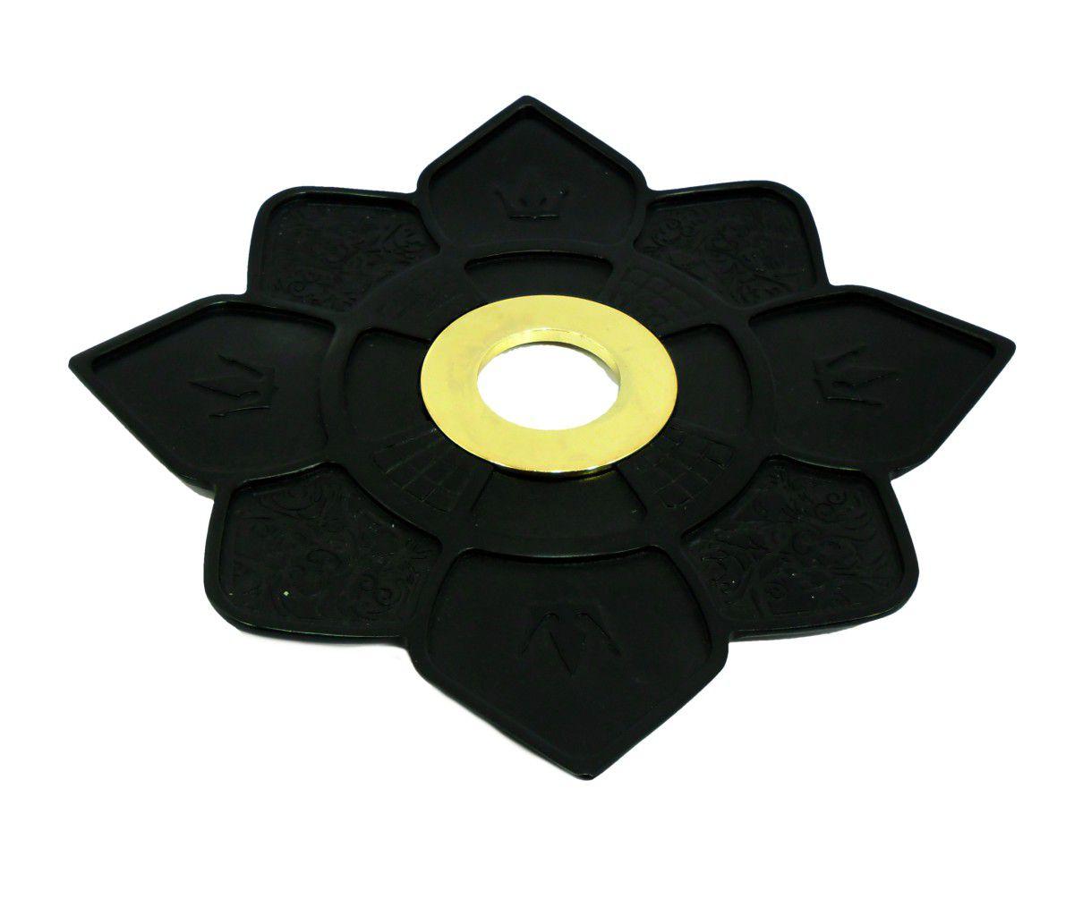 Prato para narguile IMPERIA c/pintura epóxi PRETA. 27cm de diâmetro, 4cm de furo. centro Dourado