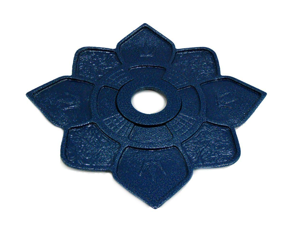Prato para narguile IMPERIA com pintura epóxi com textura martelada. 27cm de diâmetro, 4cm de furo. Azul martelado