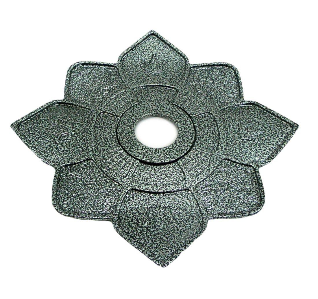 Prato para narguile IMPERIA com pintura epóxi com textura martelada. 27cm de diâmetro, 4cm de furo. Prata martelado