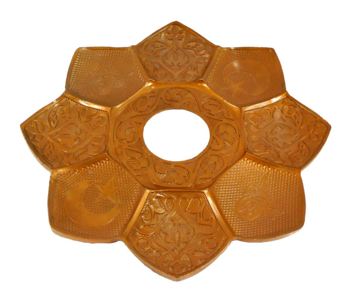Prato para narguile marca Md Hookah 21cm de diâmetro. Em metal inox e decorado. Cor BRONZE.
