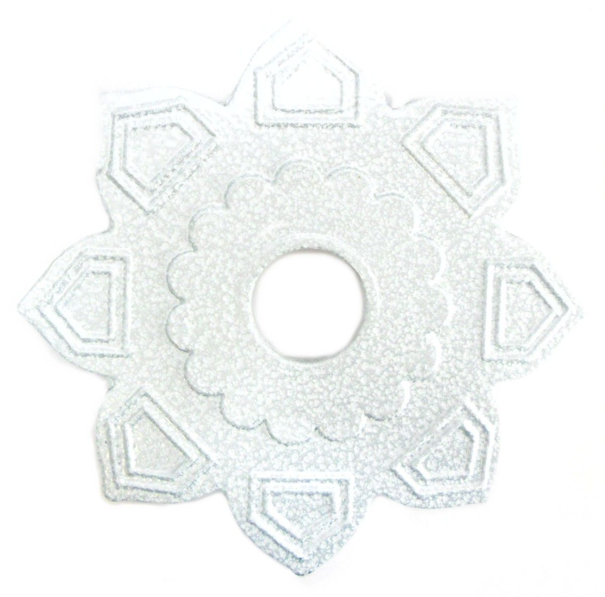 Prato para narguile marca Ranny em metal, formato estrela, 18cm de diâmetro. Cor Branco Martelado.