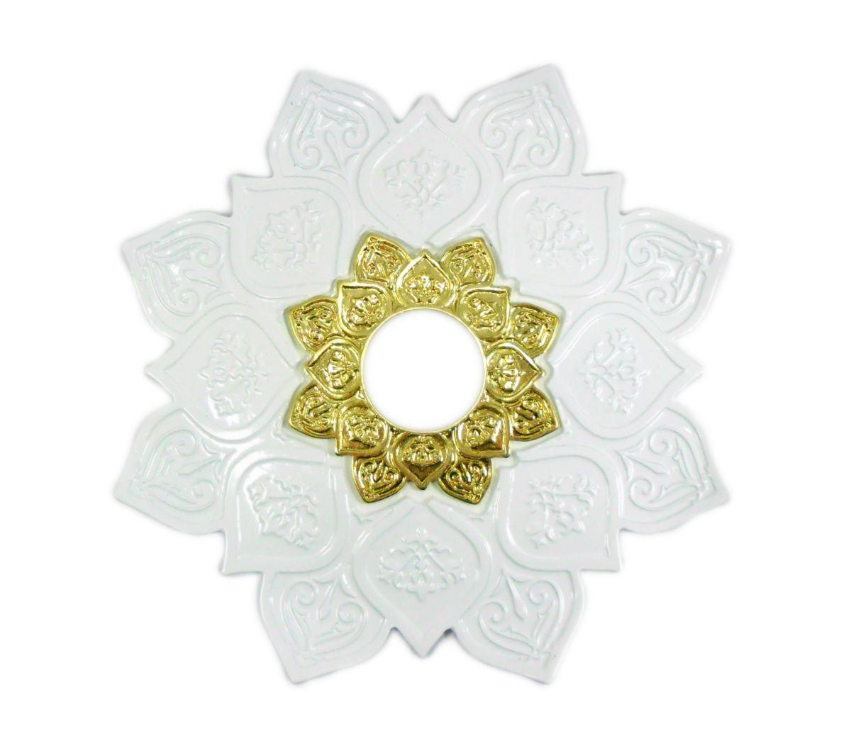 Prato para narguile mod. Athenas 22cm em liga metálica inox e decorado. Cor BRANCO.