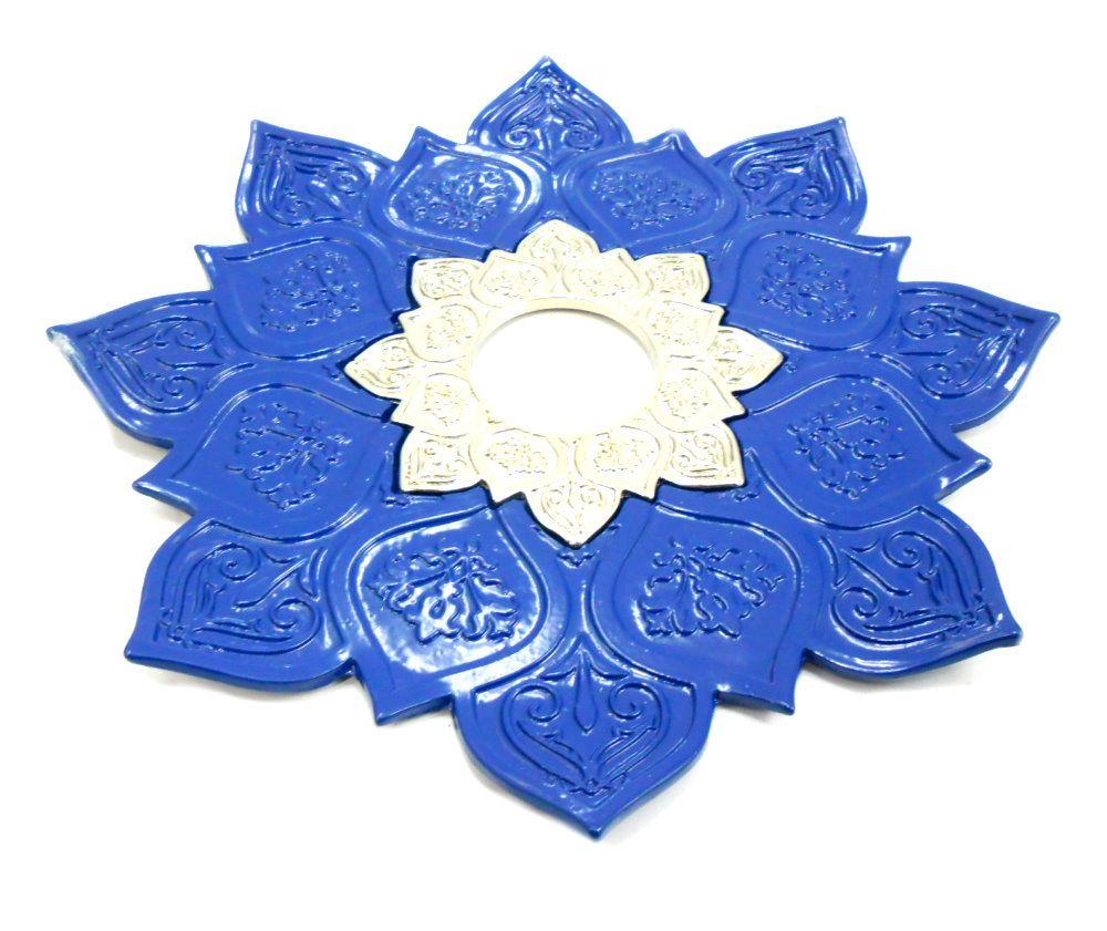 Prato para narguile mod. Athenas 23cm em liga metálica inox e decorado. Cor AZUL ESCURO.