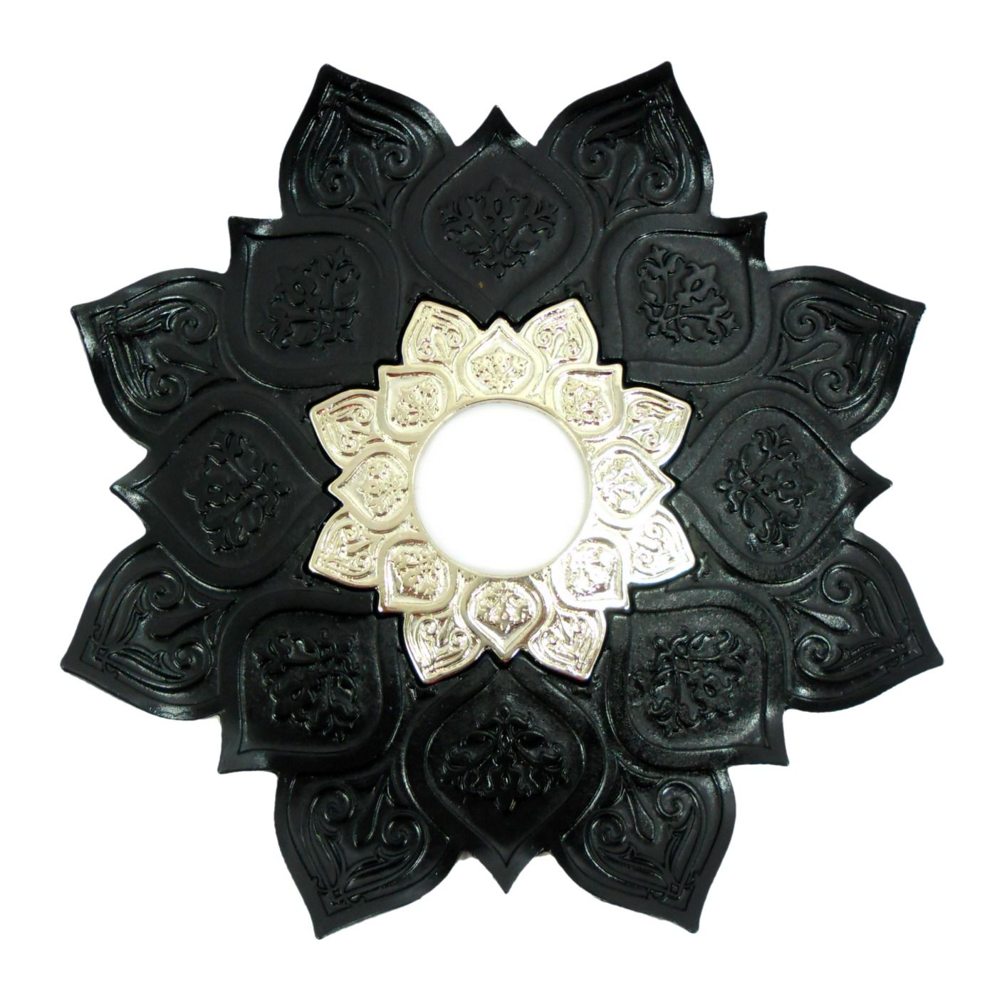 Prato para narguile mod. Athenas 23cm em liga metálica inox e decorado. Cor PRETO.