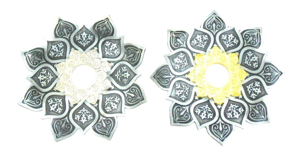 Prato para narguile mod. Athenas 23cm em liga metálica inox e decorado. Cor PRETO ESCOVADO.