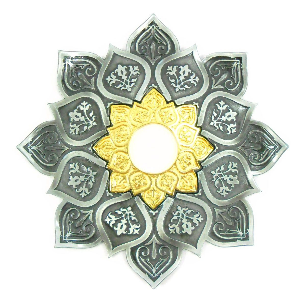 Prato para narguile mod. Athenas 23cm em liga metálica inox e decorado. Cor PRETO ESCOVADO. Centro Dourado