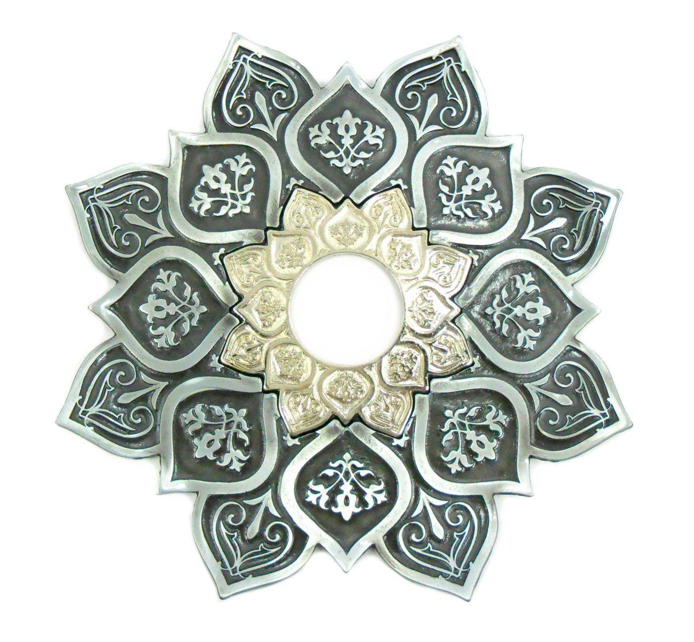 Prato para narguile mod. Athenas 23cm em liga metálica inox e decorado. Cor PRETO ESCOVADO centro Prateado