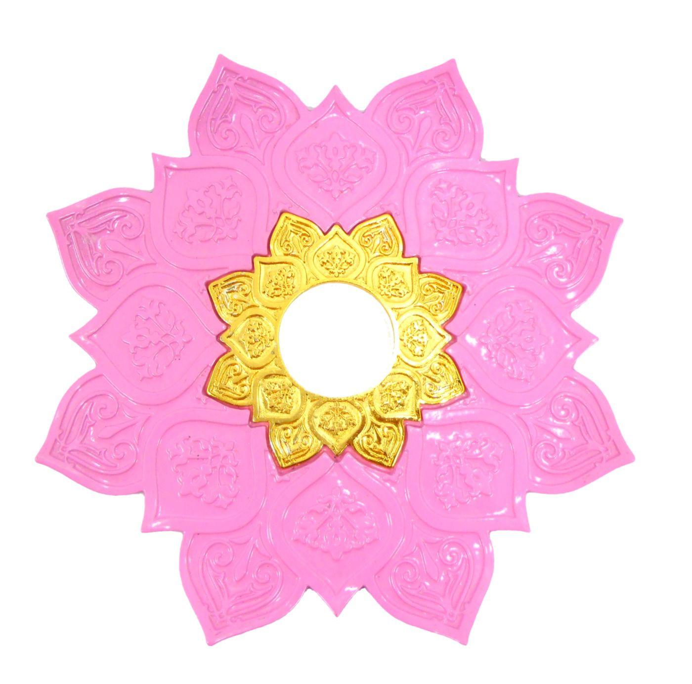 Prato para narguile mod. Athenas 23cm em liga metálica inox e decorado. Cor ROSA CLARO.