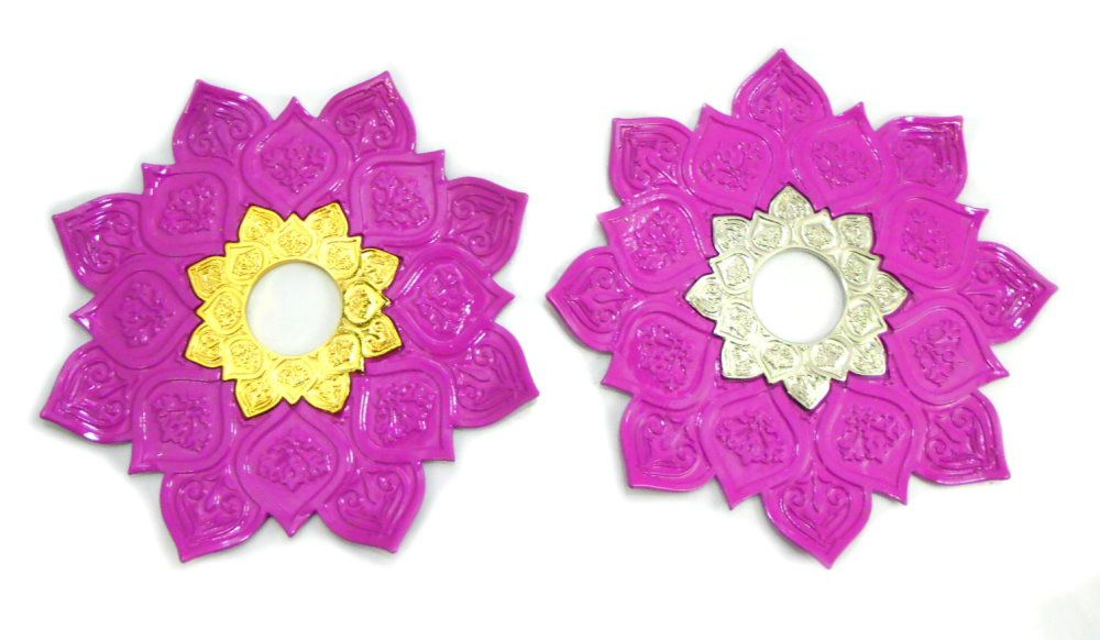 Prato para narguile mod. Athenas 23cm em liga metálica inox e decorado. Cor ROSA ESCURO.