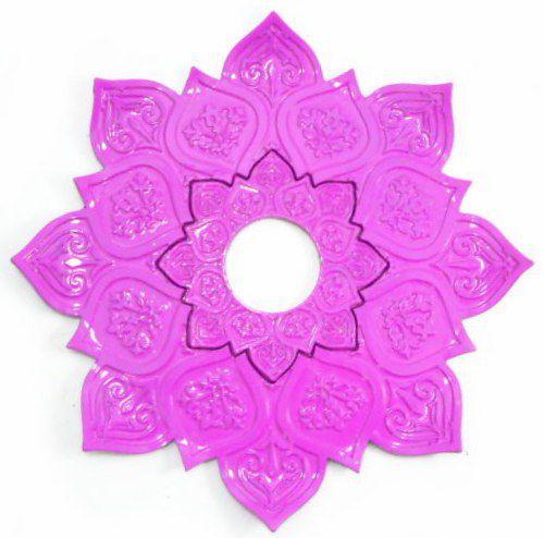 Prato para narguile mod. Athenas 23cm em liga metálica inox e decorado. Cor ROSA ESCURO. Centro Rosa