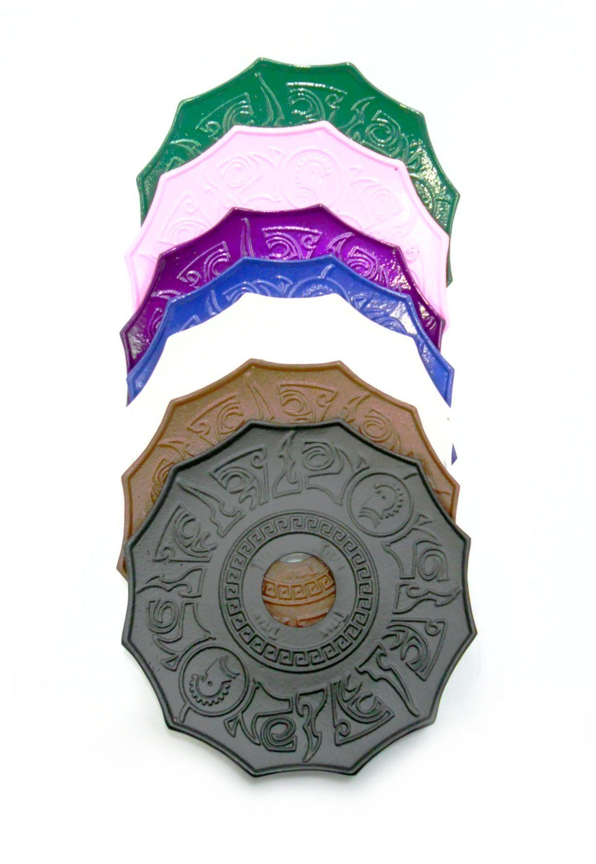Prato para narguile modelo Titan, 21cm, inoxidável. Em metal pintado. Verde escuro