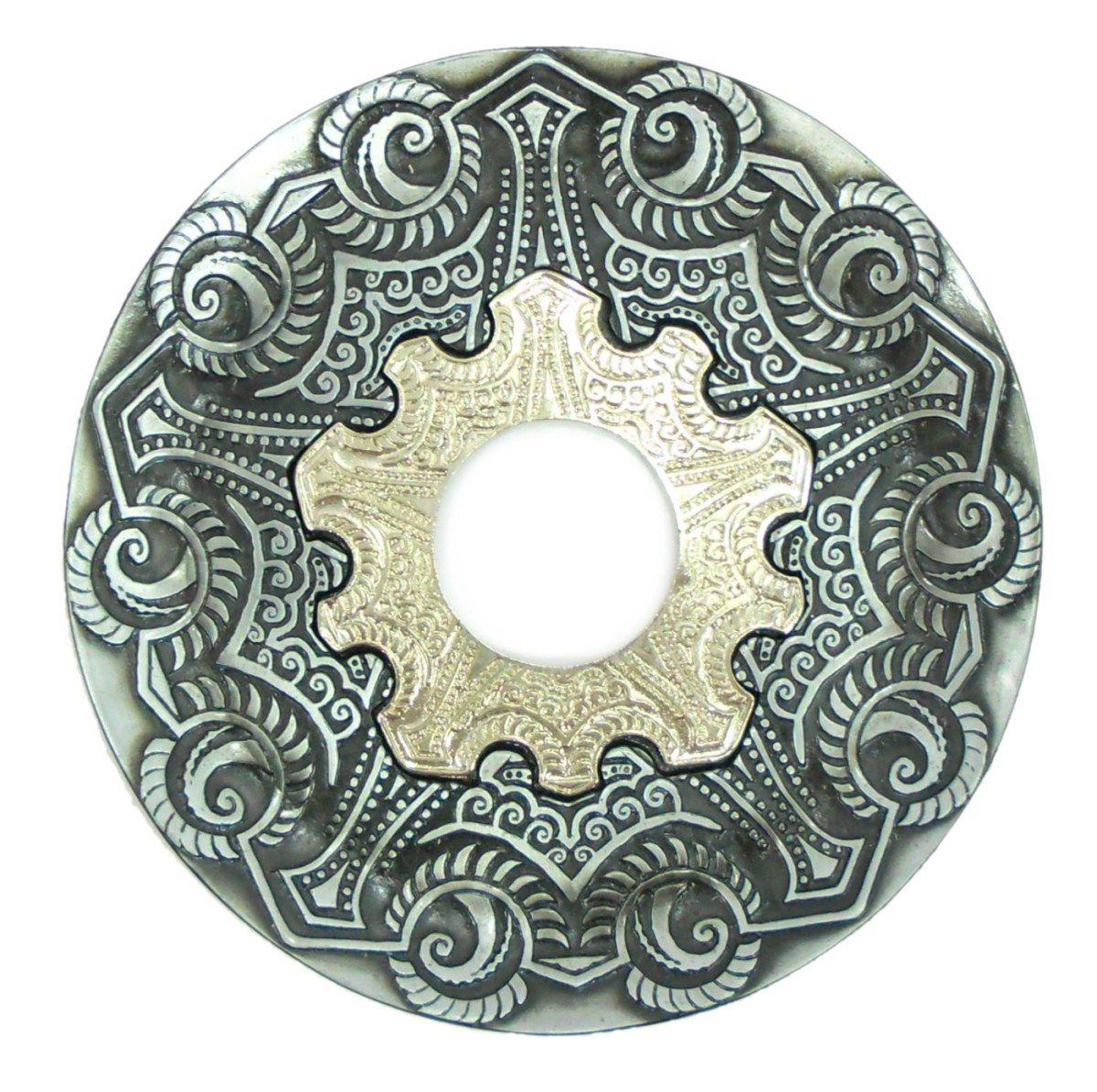Prato para narguile modelo Vennus 17cm de diâmetro. Liga metálica inox e decorado. PRETO ESCOVADO.