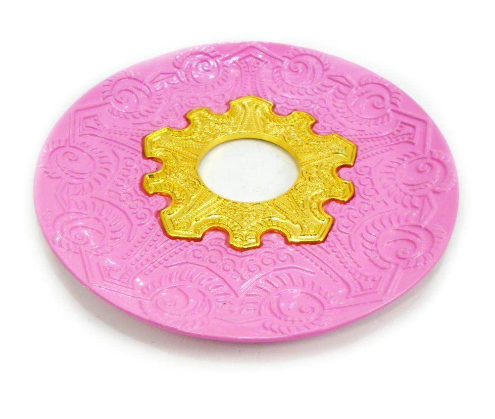Prato para narguile modelo Vennus 17cm de diâmetro. Liga metálica inox e decorado. ROSA CLARO. Centro dourado