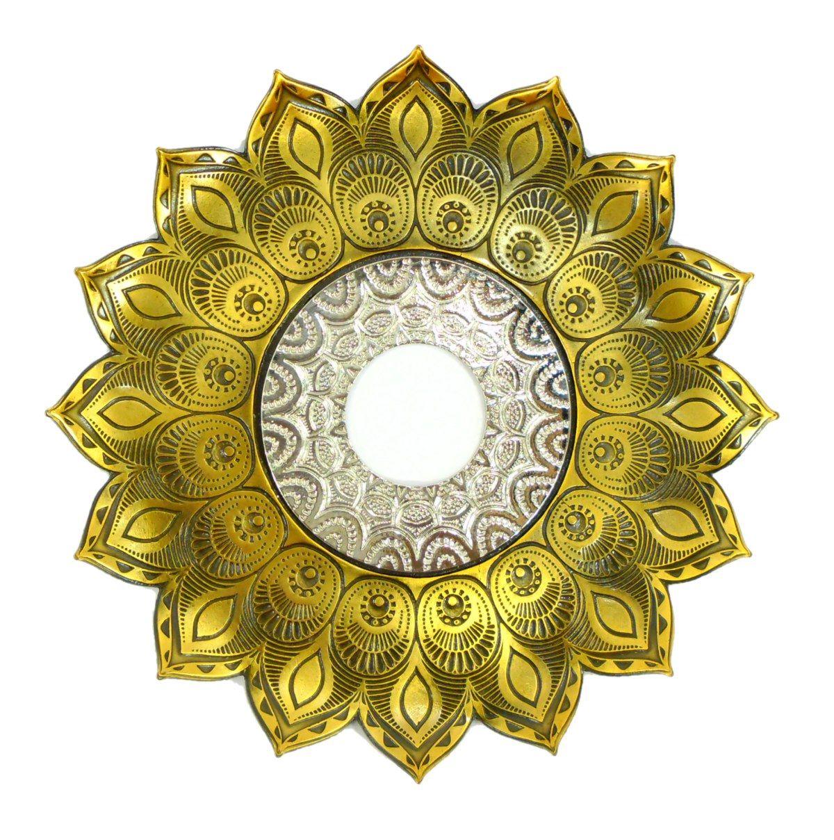 Prato para narguile Pérsia 21cm em inox pintado, decorado flor de lótus. Cor OURO VELHO.