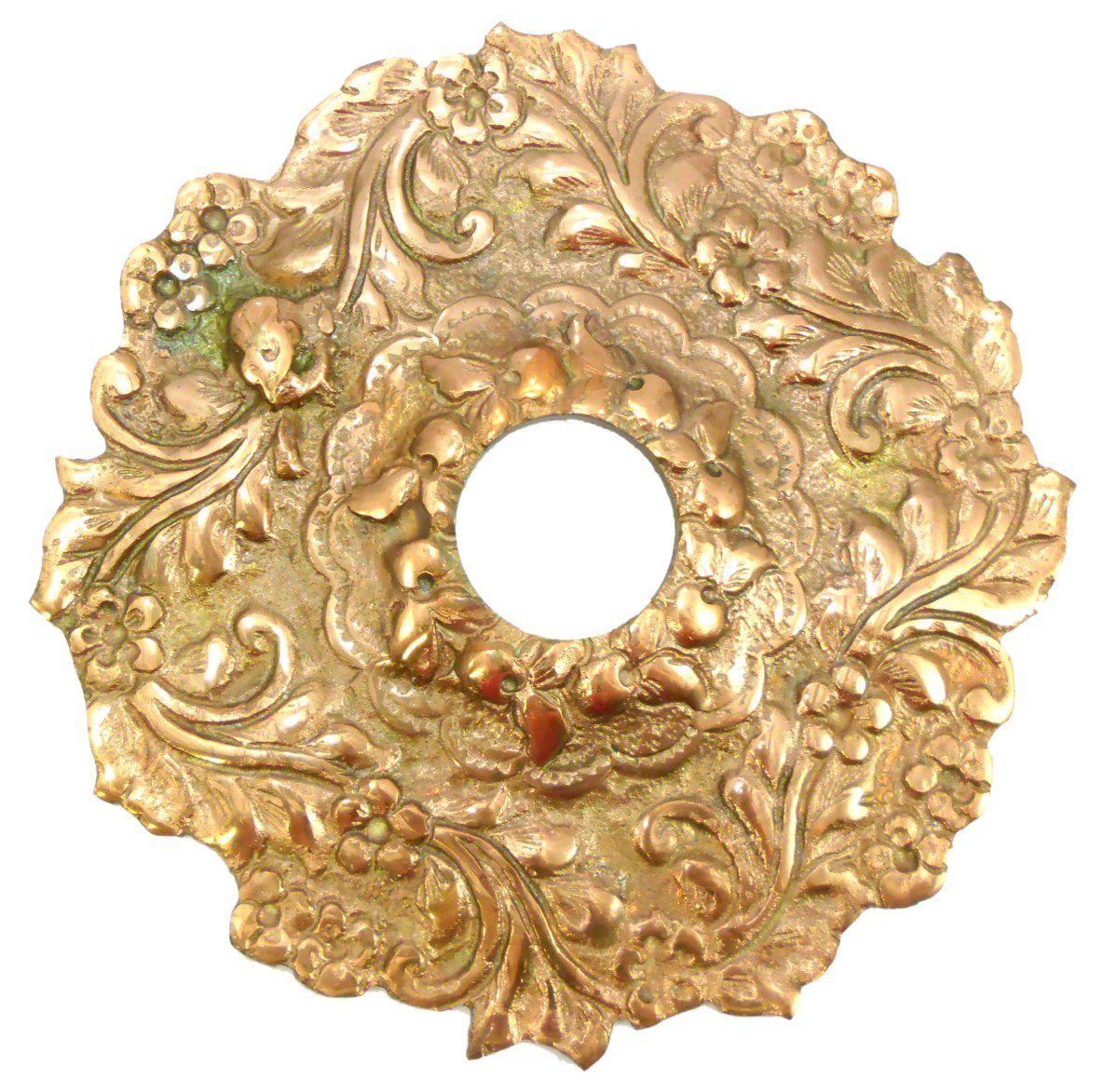 Prato para narguile Turco ROYAL FARIDA floral em bronze, Grande (22cm de diâmetro) 4,5cm de furo.
