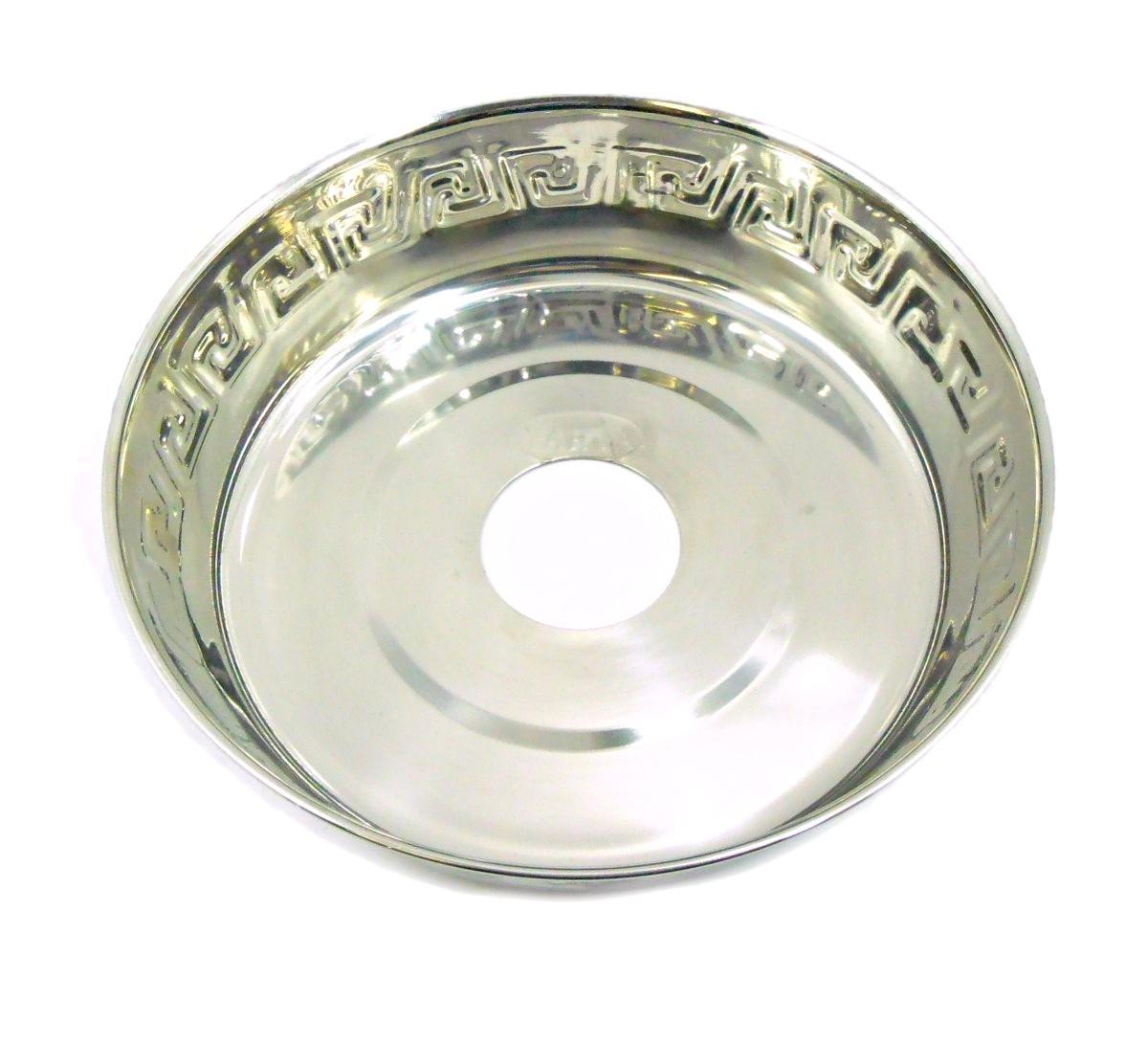 Prato para narguile Yahya P8 egípcio, em latão, 18cm de diâmetro, furo 4,4cm. Grande e fundo.